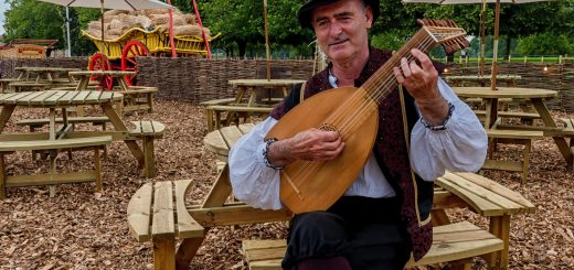 Our Medieval Minstrel Lute player welcoming audiences at Shakespeare's Rose Theatre
